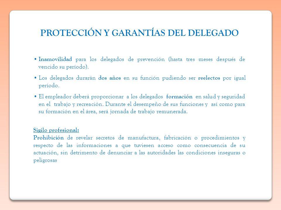Inamovilidad para los delegados de prevención (hasta tres meses después de vencido su período). Los delegados durarán dos años en su función pudiendo