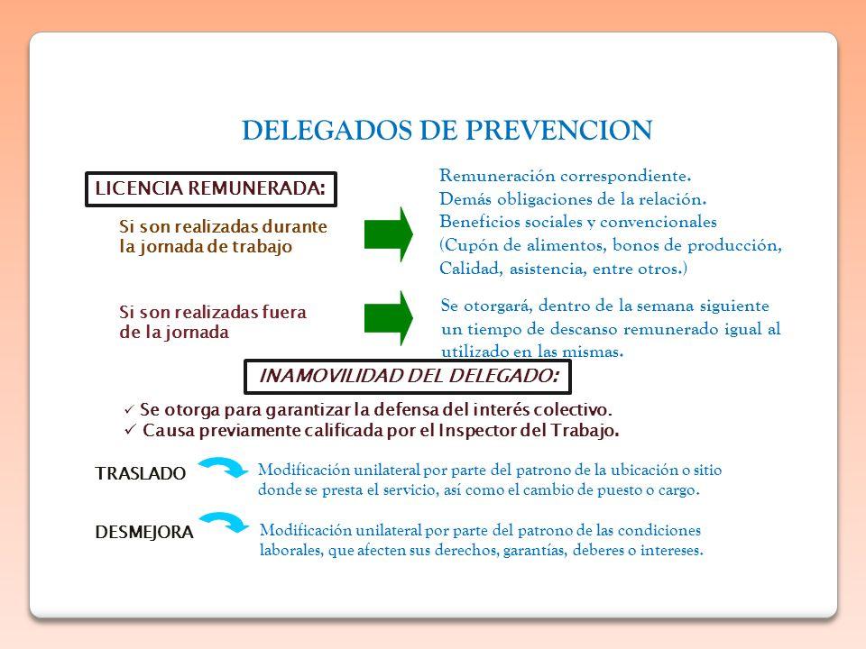 DELEGADOS DE PREVENCION LICENCIA REMUNERADA : Si son realizadas durante la jornada de trabajo Remuneración correspondiente. Demás obligaciones de la r