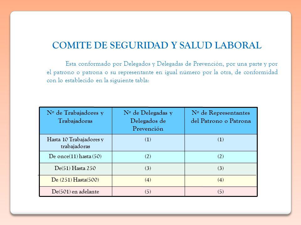 Esta conformado por Delegados y Delegadas de Prevención, por una parte y por el patrono o patrona o su representante en igual número por la otra, de c