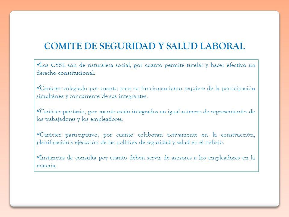 Los CSSL son de naturaleza social, por cuanto permite tutelar y hacer efectivo un derecho constitucional. Carácter colegiado por cuanto para su funcio