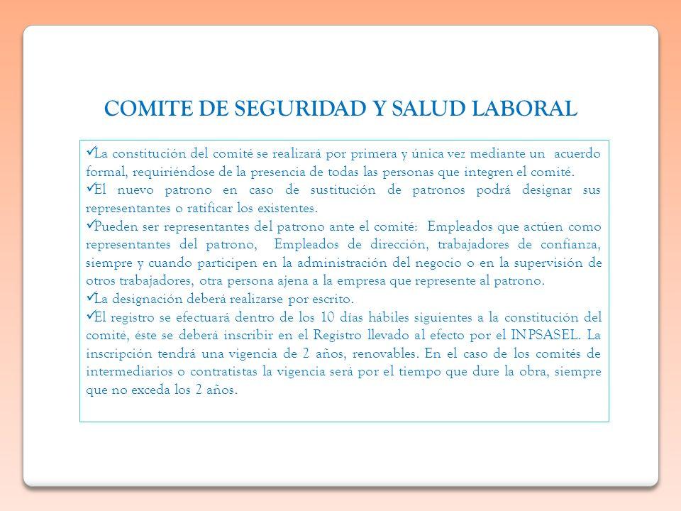 COMITE DE SEGURIDAD Y SALUD LABORAL La constitución del comité se realizará por primera y única vez mediante un acuerdo formal, requiriéndose de la pr