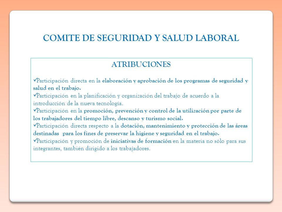 COMITE DE SEGURIDAD Y SALUD LABORAL ATRIBUCIONES Participación directa en la elaboración y aprobación de los programas de seguridad y salud en el trab