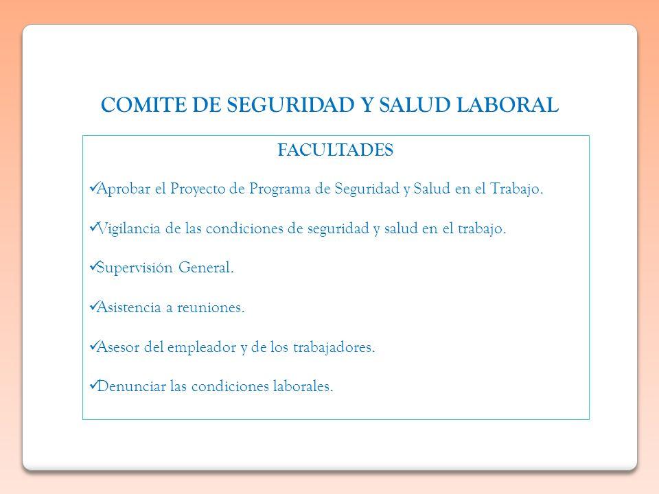 COMITE DE SEGURIDAD Y SALUD LABORAL FACULTADES Aprobar el Proyecto de Programa de Seguridad y Salud en el Trabajo. Vigilancia de las condiciones de se