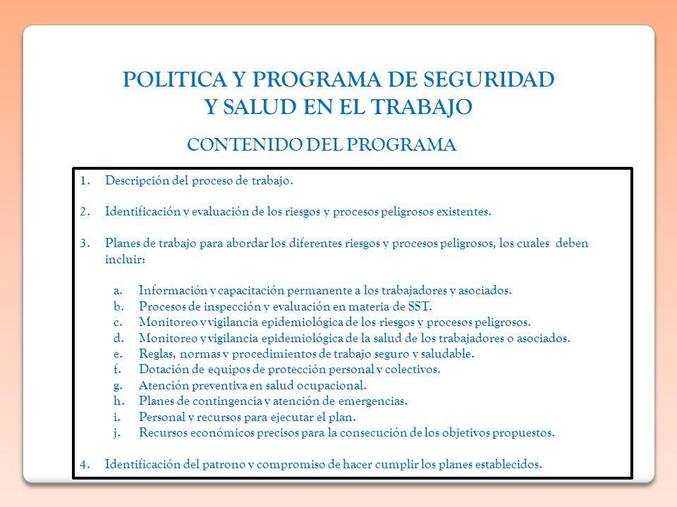 POLITICA Y PROGRAMA DE SEGURIDAD Y SALUD EN EL TRABAJO CONTENIDO DEL PROGRAMA 1.Descripción del proceso de trabajo. 2.Identificación y evaluación de l