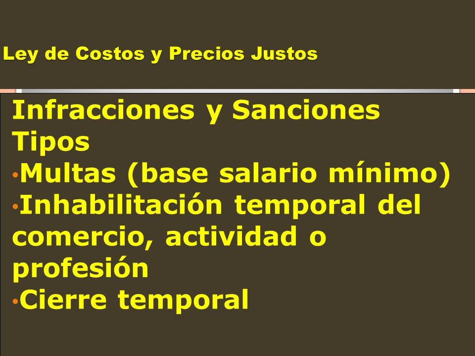 Ley de Costos y Precios Justos Infracciones y Sanciones Tipos Multas (base salario mínimo) Inhabilitación temporal del comercio, actividad o profesión