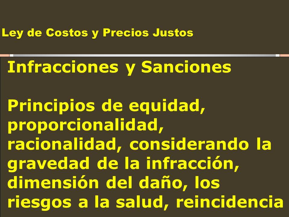 Ley de Costos y Precios Justos Infracciones y Sanciones Principios de equidad, proporcionalidad, racionalidad, considerando la gravedad de la infracci
