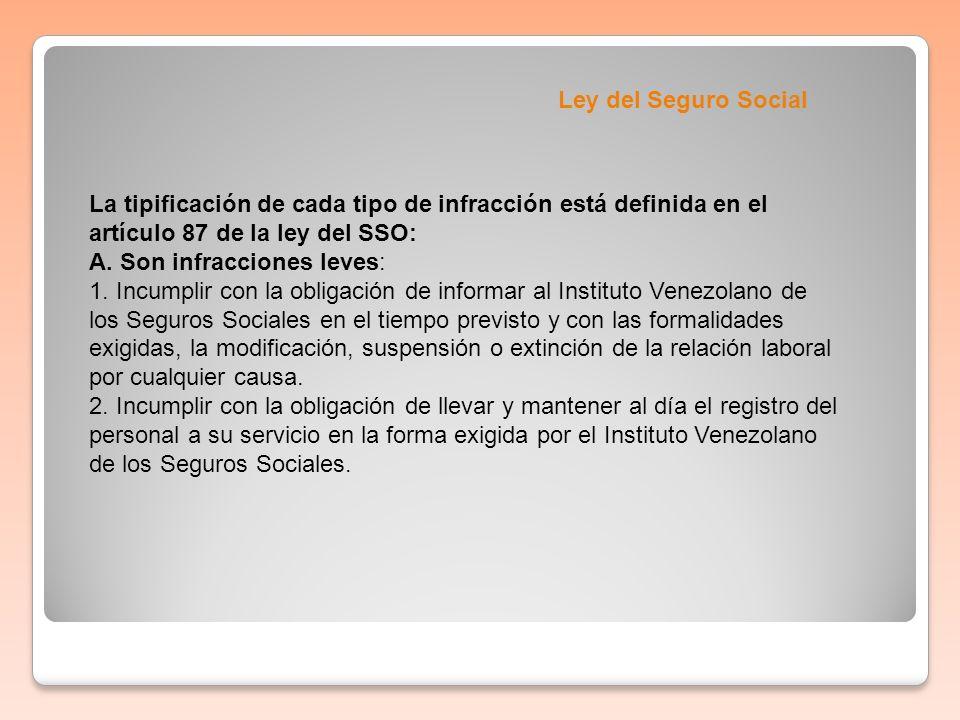 Ley del Seguro Social La tipificación de cada tipo de infracción está definida en el artículo 87 de la ley del SSO: A. Son infracciones leves: 1. Incu