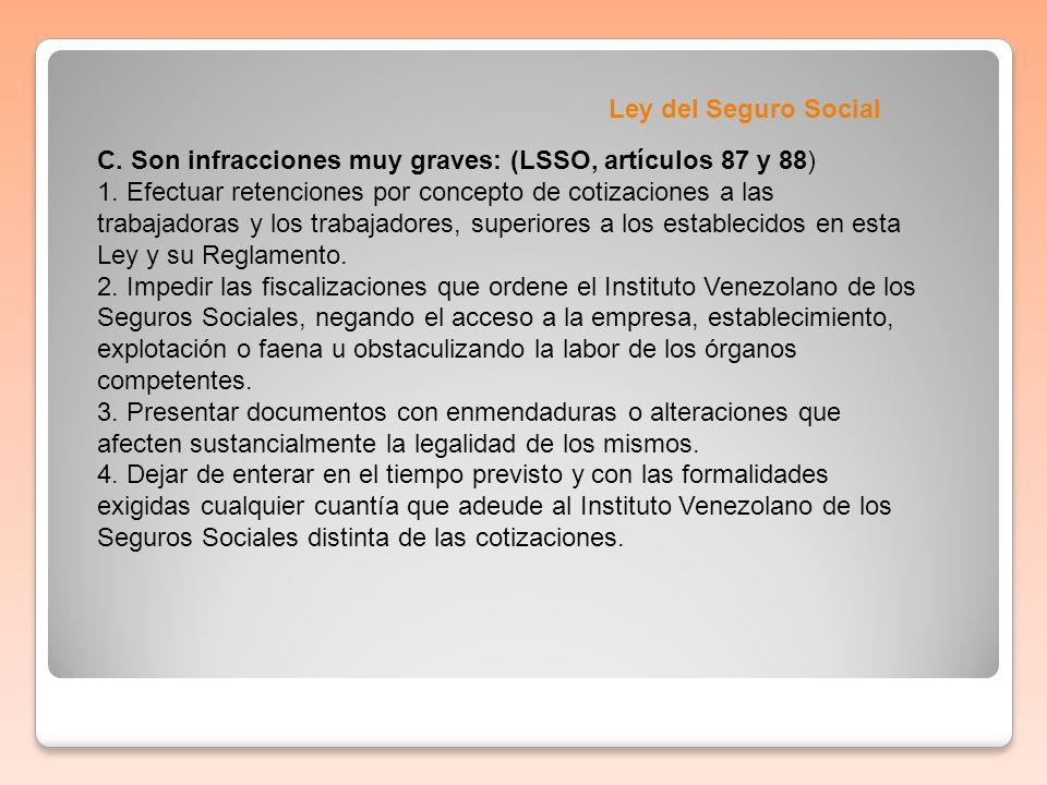 Ley del Seguro Social C. Son infracciones muy graves: (LSSO, artículos 87 y 88) 1. Efectuar retenciones por concepto de cotizaciones a las trabajadora