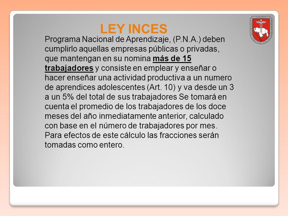 LEY INCES Programa Nacional de Aprendizaje, (P.N.A.) deben cumplirlo aquellas empresas públicas o privadas, que mantengan en su nomina más de 15 traba
