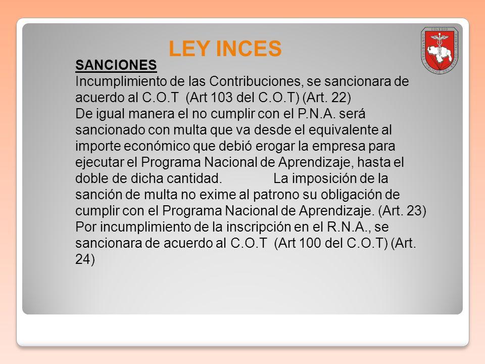 LEY INCES SANCIONES Incumplimiento de las Contribuciones, se sancionara de acuerdo al C.O.T (Art 103 del C.O.T) (Art. 22) De igual manera el no cumpli