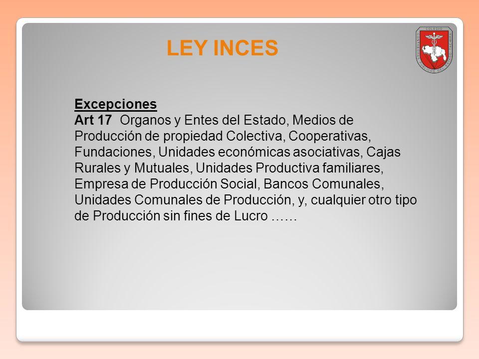 LEY INCES Excepciones Art 17 Organos y Entes del Estado, Medios de Producción de propiedad Colectiva, Cooperativas, Fundaciones, Unidades económicas a