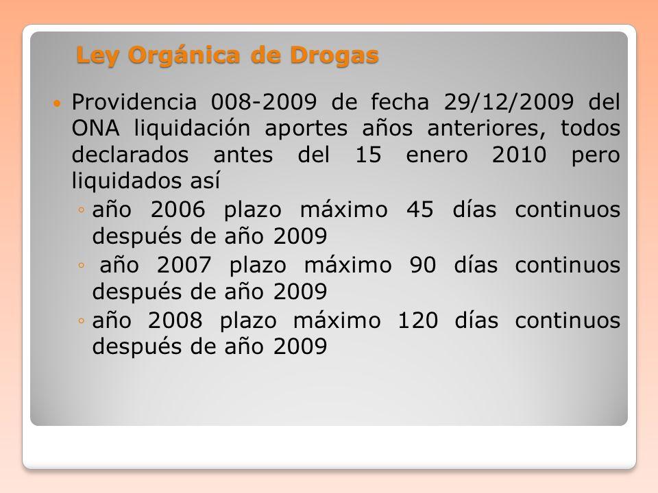 Ley Orgánica de Drogas Providencia 008-2009 de fecha 29/12/2009 del ONA liquidación aportes años anteriores, todos declarados antes del 15 enero 2010