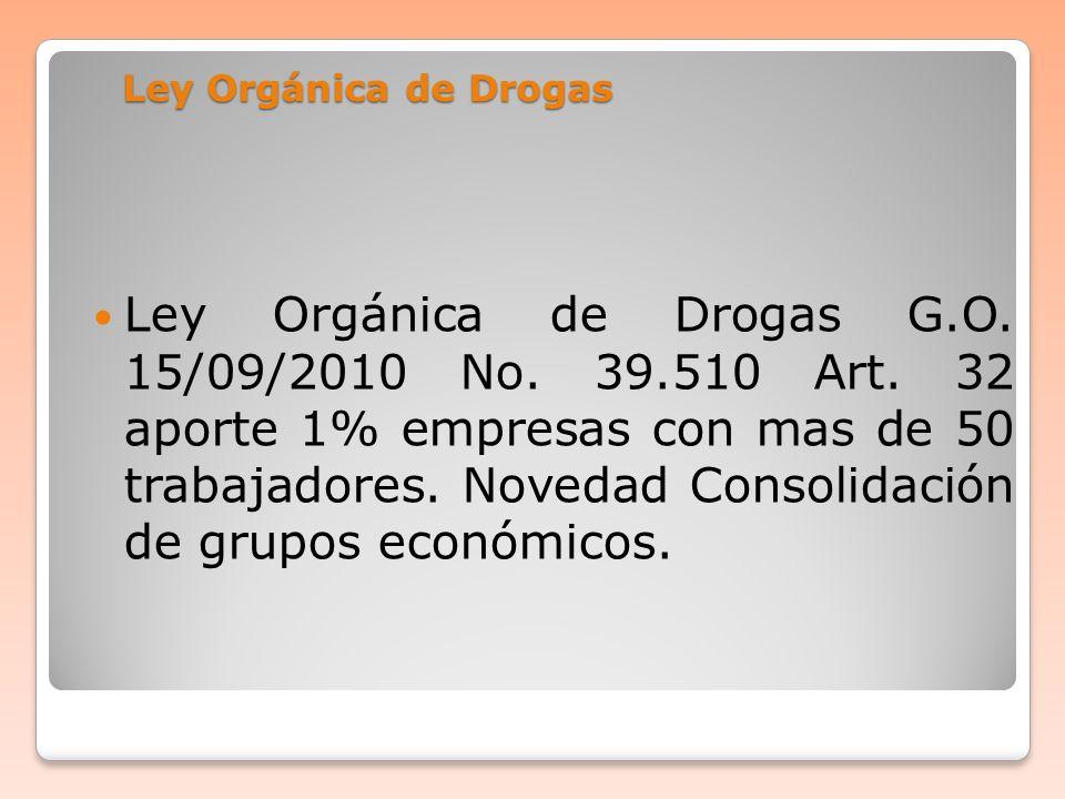 Ley Orgánica de Drogas Ley Orgánica de Drogas G.O. 15/09/2010 No. 39.510 Art. 32 aporte 1% empresas con mas de 50 trabajadores. Novedad Consolidación