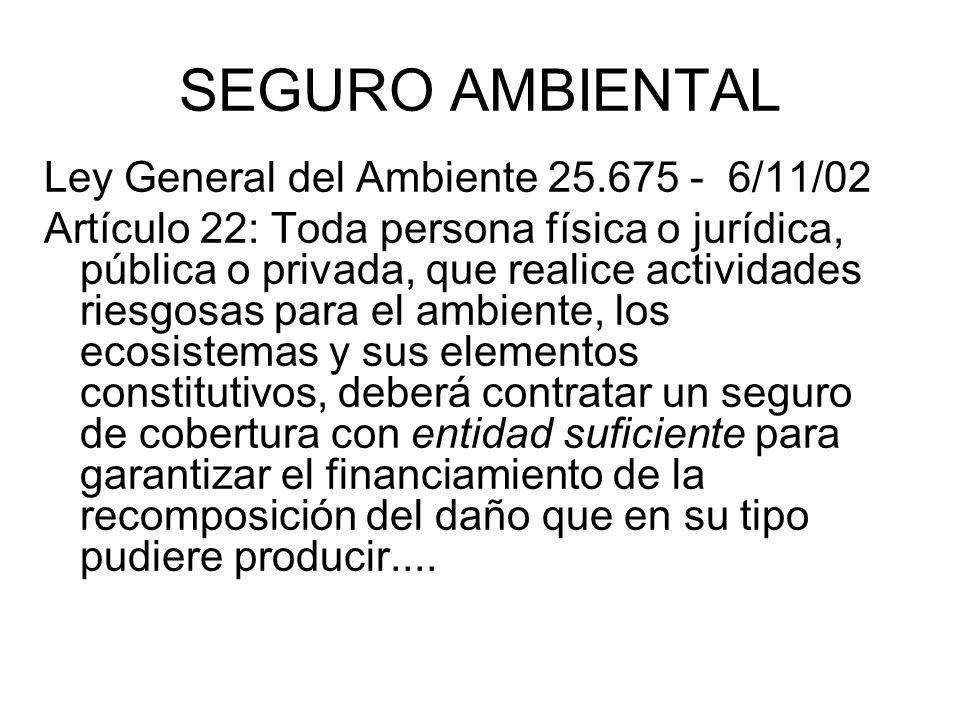 SEGURO AMBIENTAL Ley General del Ambiente 25.675 - 6/11/02 Artículo 22: Toda persona física o jurídica, pública o privada, que realice actividades rie