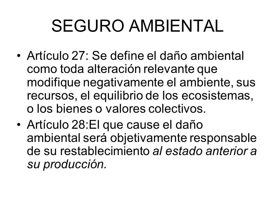 SEGURO AMBIENTAL Artículo 27: Se define el daño ambiental como toda alteración relevante que modifique negativamente el ambiente, sus recursos, el equ
