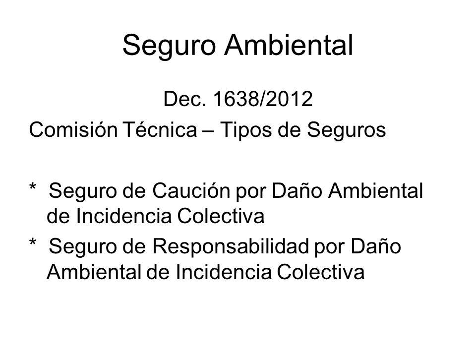 Seguro Ambiental Dec. 1638/2012 Comisión Técnica – Tipos de Seguros * Seguro de Caución por Daño Ambiental de Incidencia Colectiva * Seguro de Respons