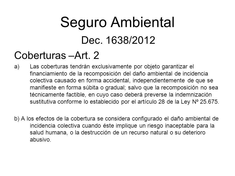Seguro Ambiental Dec. 1638/2012 Coberturas –Art. 2 a)Las coberturas tendrán exclusivamente por objeto garantizar el financiamiento de la recomposición
