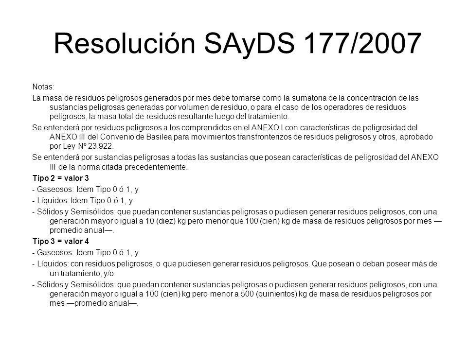 Resolución SAyDS 177/2007 Notas: La masa de residuos peligrosos generados por mes debe tomarse como la sumatoria de la concentración de las sustancias