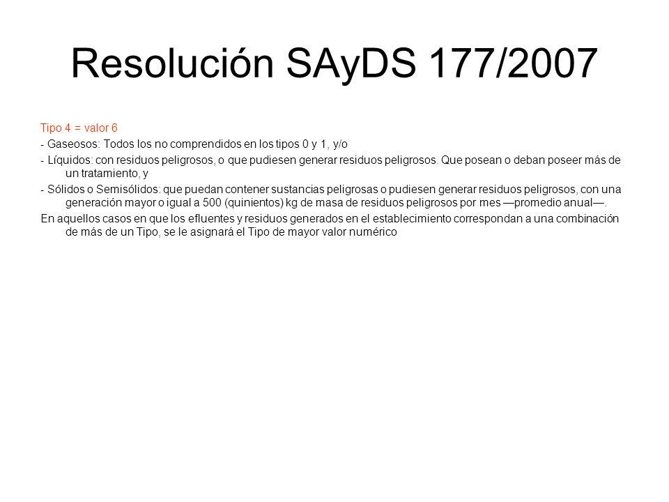 Resolución SAyDS 177/2007 Tipo 4 = valor 6 - Gaseosos: Todos los no comprendidos en los tipos 0 y 1, y/o - Líquidos: con residuos peligrosos, o que pu