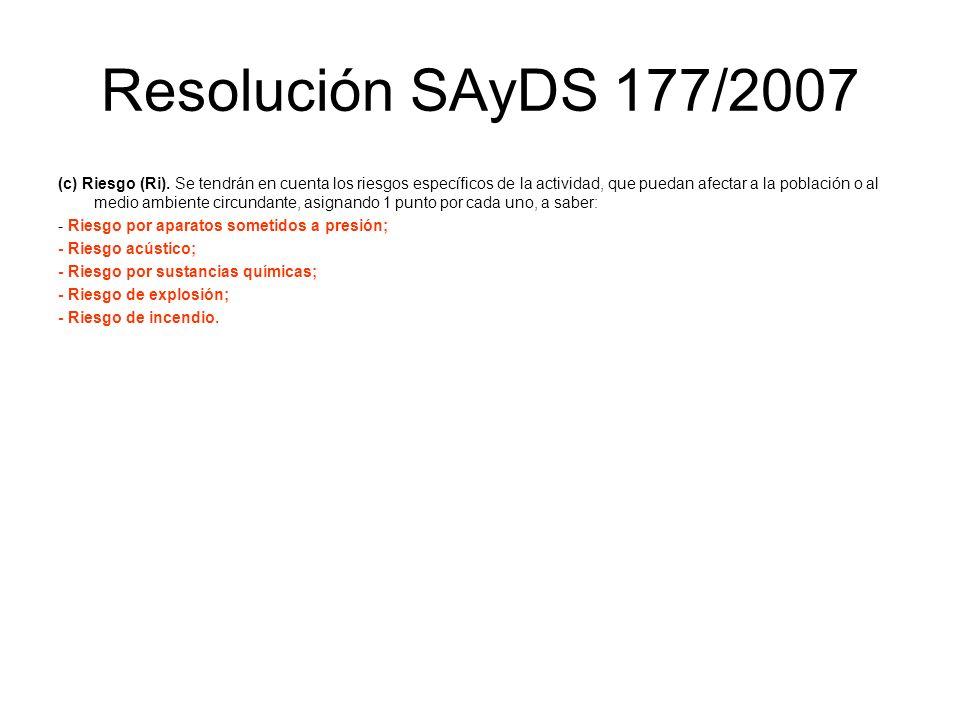 Resolución SAyDS 177/2007 (c) Riesgo (Ri). Se tendrán en cuenta los riesgos específicos de la actividad, que puedan afectar a la población o al medio