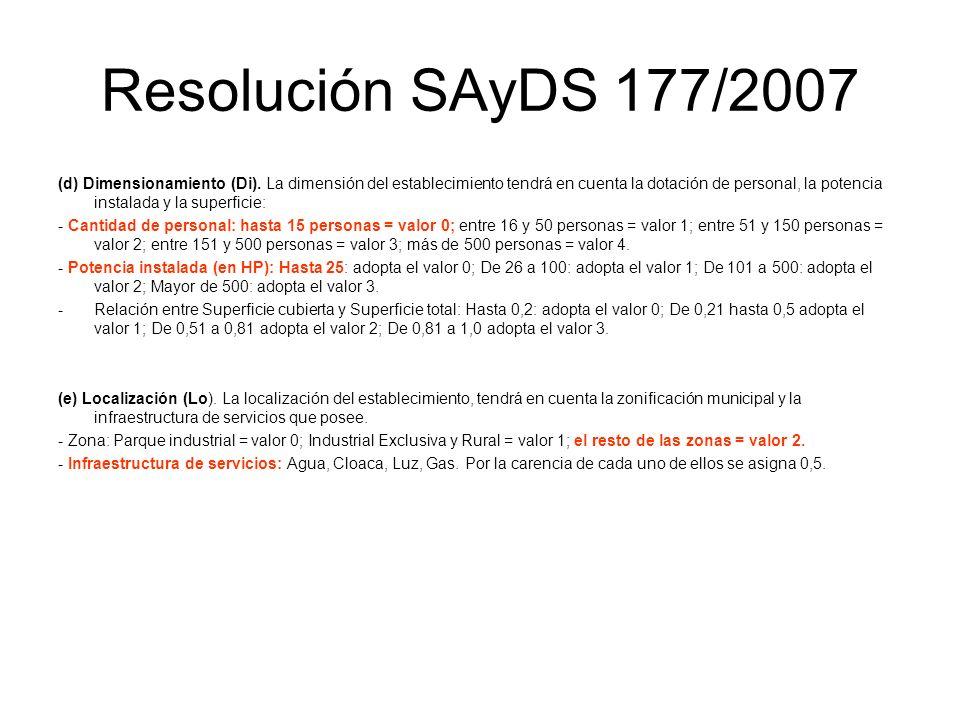 Resolución SAyDS 177/2007 (d) Dimensionamiento (Di). La dimensión del establecimiento tendrá en cuenta la dotación de personal, la potencia instalada