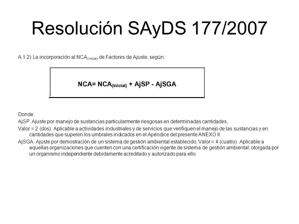 Resolución SAyDS 177/2007 A.1.2) La incorporación al NCA (inicial) de Factores de Ajuste, según: Donde: AjSP. Ajuste por manejo de sustancias particul
