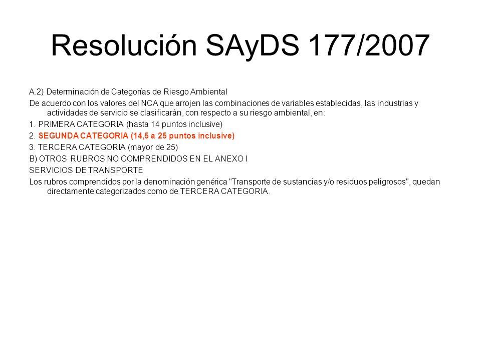Resolución SAyDS 177/2007 A.2) Determinación de Categorías de Riesgo Ambiental De acuerdo con los valores del NCA que arrojen las combinaciones de var