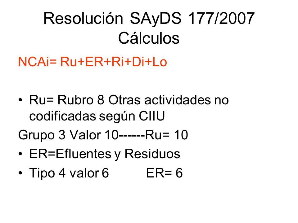 Resolución SAyDS 177/2007 Cálculos NCAi= Ru+ER+Ri+Di+Lo Ru= Rubro 8 Otras actividades no codificadas según CIIU Grupo 3 Valor 10------Ru= 10 ER=Efluen