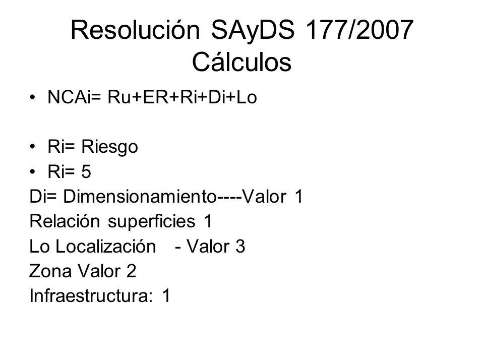 Resolución SAyDS 177/2007 Cálculos NCAi= Ru+ER+Ri+Di+Lo Ri= Riesgo Ri= 5 Di= Dimensionamiento----Valor 1 Relación superficies 1 Lo Localización - Valo