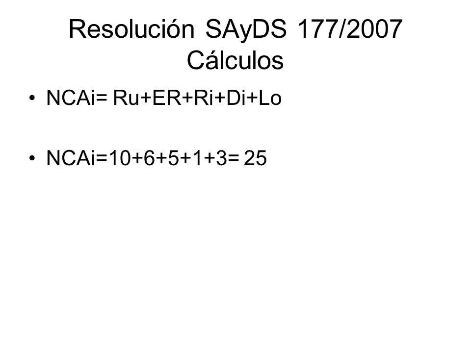 Resolución SAyDS 177/2007 Cálculos NCAi= Ru+ER+Ri+Di+Lo NCAi=10+6+5+1+3= 25