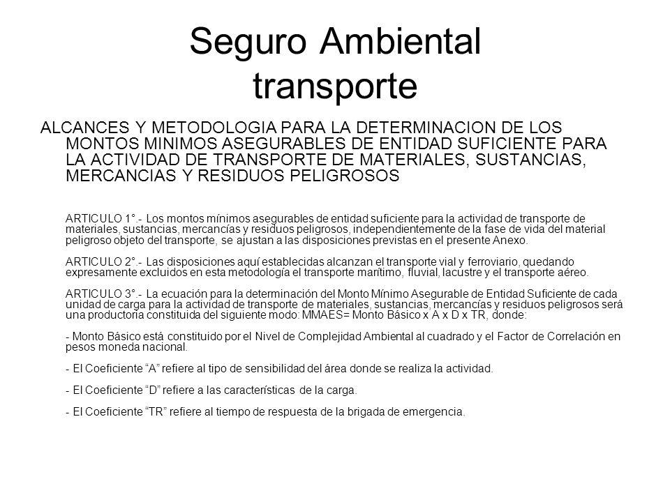 Seguro Ambiental transporte ALCANCES Y METODOLOGIA PARA LA DETERMINACION DE LOS MONTOS MINIMOS ASEGURABLES DE ENTIDAD SUFICIENTE PARA LA ACTIVIDAD DE