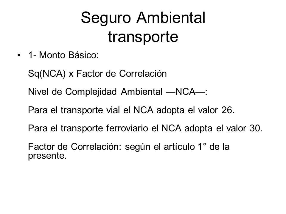 Seguro Ambiental transporte 1- Monto Básico: Sq(NCA) x Factor de Correlación Nivel de Complejidad Ambiental NCA: Para el transporte vial el NCA adopta