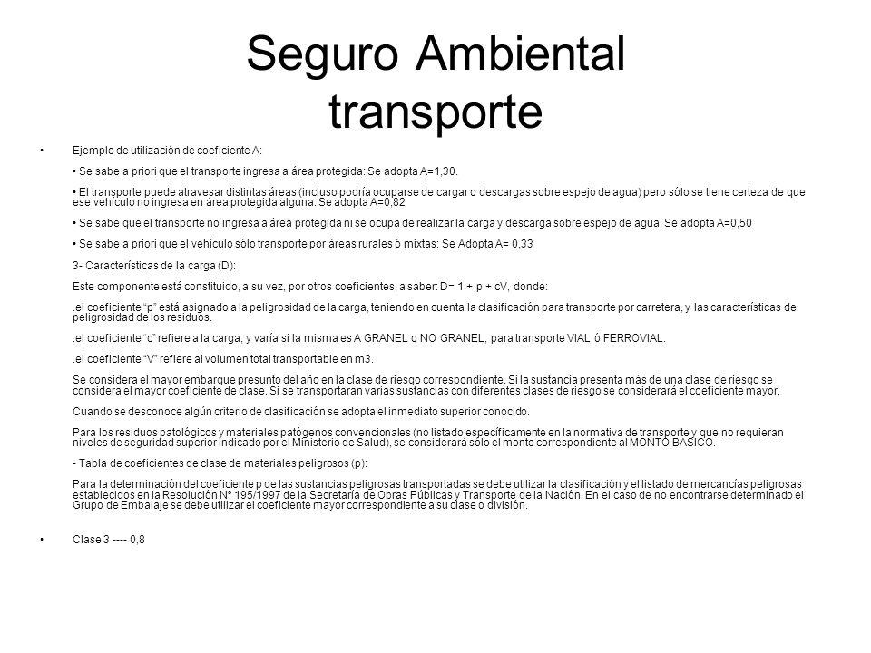 Seguro Ambiental transporte Ejemplo de utilización de coeficiente A: Se sabe a priori que el transporte ingresa a área protegida: Se adopta A=1,30. El