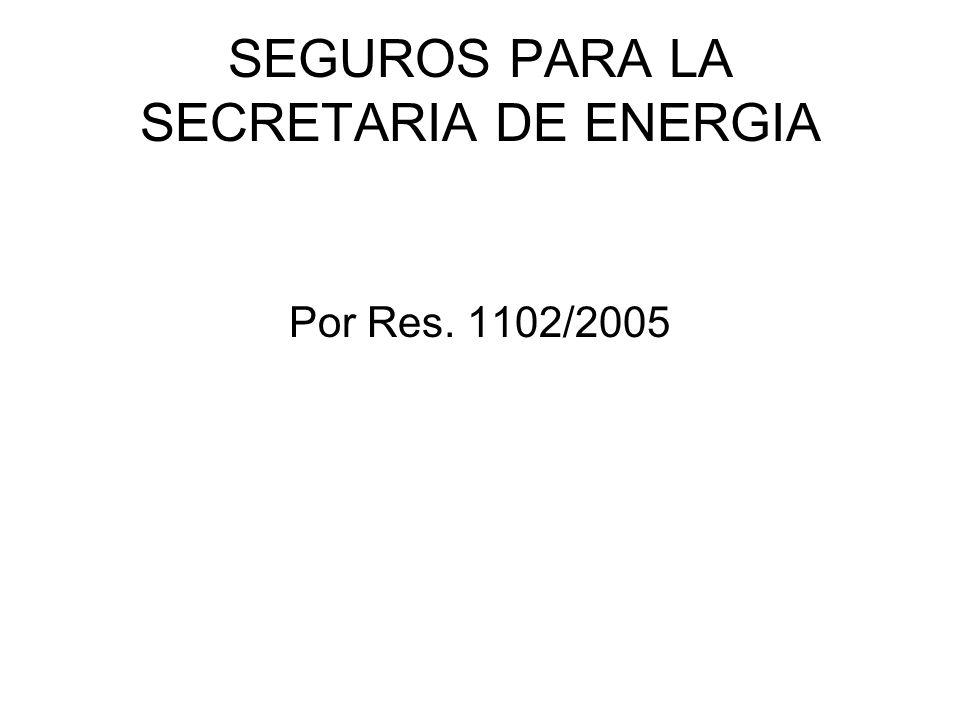 SEGUROS PARA LA SECRETARIA DE ENERGIA Por Res. 1102/2005