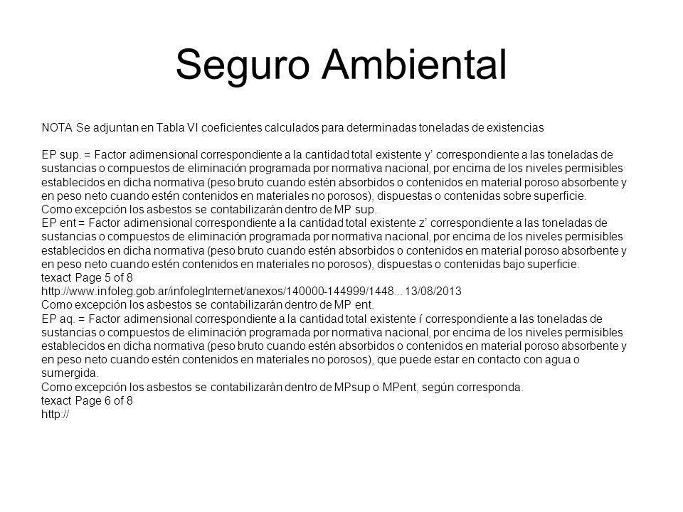 Seguro Ambiental NOTA Se adjuntan en Tabla VI coeficientes calculados para determinadas toneladas de existencias EP sup. = Factor adimensional corresp