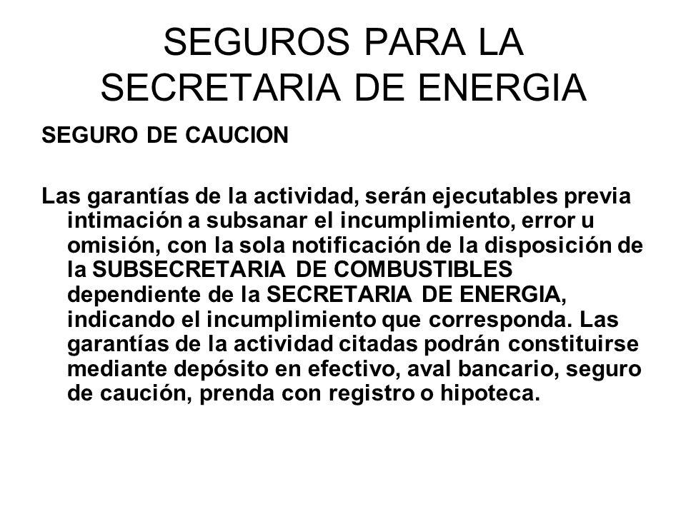 SEGUROS PARA LA SECRETARIA DE ENERGIA SEGURO DE CAUCION Las garantías de la actividad, serán ejecutables previa intimación a subsanar el incumplimient