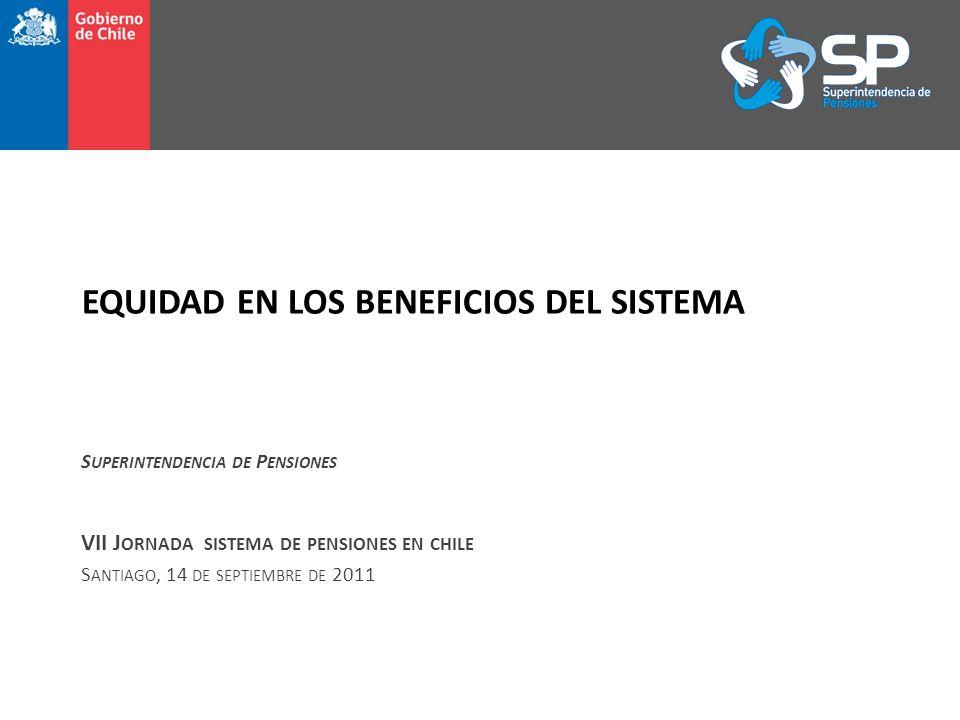 EQUIDAD EN LOS BENEFICIOS DEL SISTEMA S UPERINTENDENCIA DE P ENSIONES VII J ORNADA SISTEMA DE PENSIONES EN CHILE S ANTIAGO, 14 DE SEPTIEMBRE DE 2011
