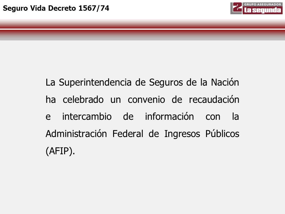 Por dicho convenio, la AFIP procederá a recaudar los premios (primas más derecho de emisión) del Seguro de Vida de los trabajadores establecido por el Decreto n° 1567/74 (SCVO), mediante la utilización del Sistema de Cálculo de Obligaciones de la Seguridad Social (SiCOSS).