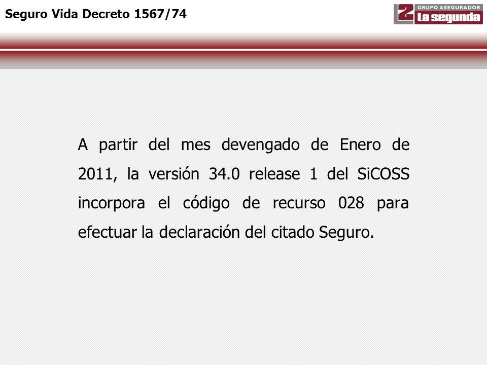 A partir del mes devengado de Enero de 2011, la versión 34.0 release 1 del SiCOSS incorpora el código de recurso 028 para efectuar la declaración del
