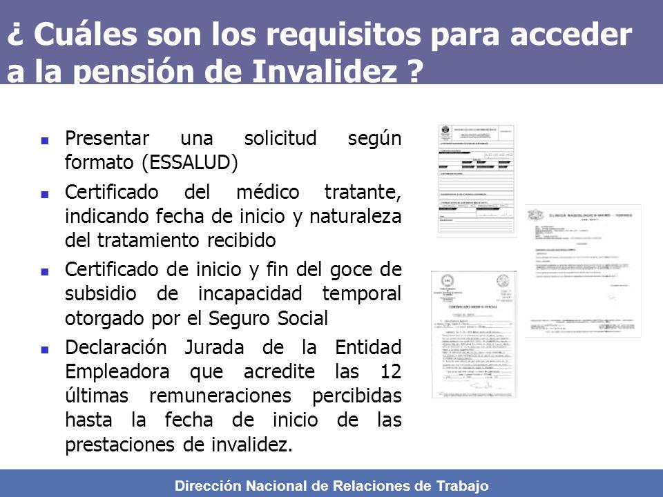 Dirección Nacional de Relaciones de Trabajo ¿Cuánto es la Pensión de Invalidez que otorga el SCTR ? INVALIDEZ PARCIAL 20% y el 50% INVALIDEZ PARCIAL 5