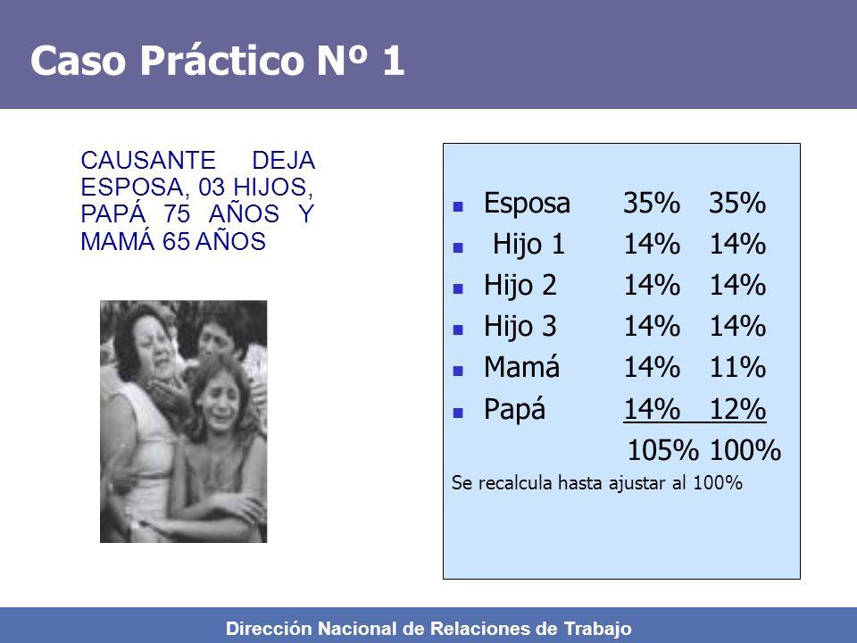 Dirección Nacional de Relaciones de Trabajo 42% VITALICIA 35% VITALICIA 14% HASTA 18 AÑOS 42% HASTA 18 AÑOS 42% + 14% c/u 14% c/u (REMANENTE) Cónyuge