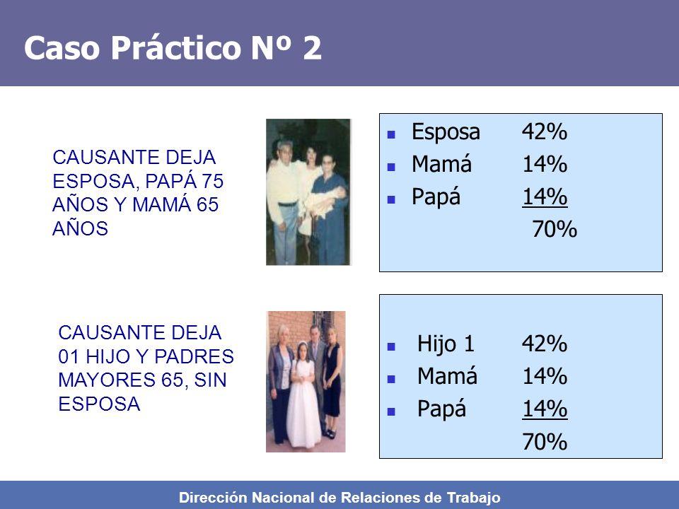 Dirección Nacional de Relaciones de Trabajo Caso Práctico Nº 1 Esposa35%35% Hijo 114%14% Hijo 214%14% Hijo 314%14% Mamá14%11% Papá14%12% 105%100% Se r