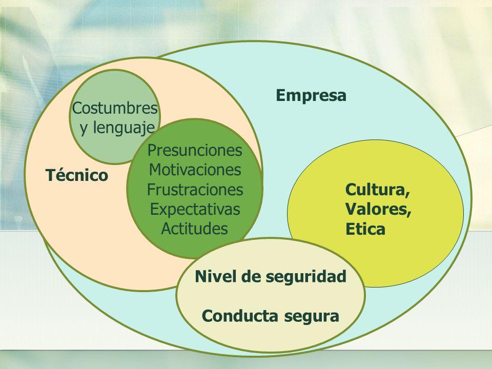 Técnico Costumbres y lenguaje Presunciones Motivaciones Frustraciones Expectativas Actitudes Empresa Cultura, Valores, Etica Nivel de seguridad Conducta segura
