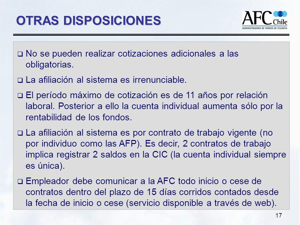 17 OTRAS DISPOSICIONES No se pueden realizar cotizaciones adicionales a las obligatorias.