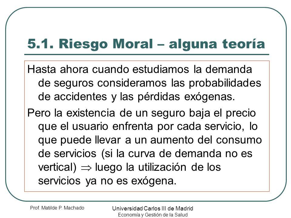 Prof. Matilde P. Machado Universidad Carlos III de Madrid Economía y Gestión de la Salud 5.1. Riesgo Moral – alguna teoría Hasta ahora cuando estudiam