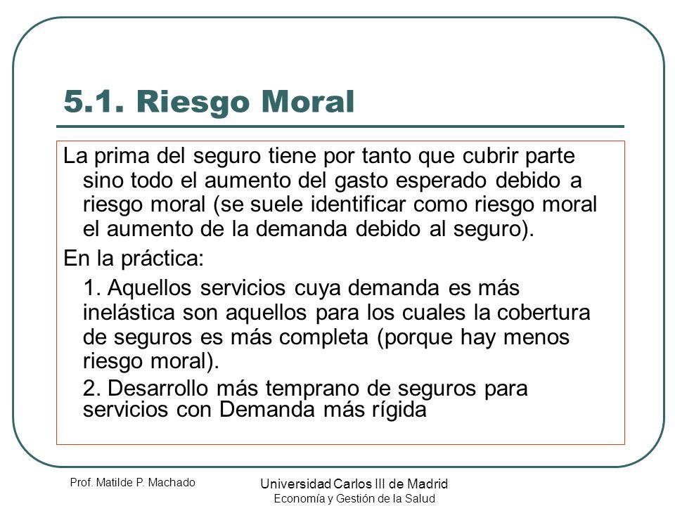 Prof. Matilde P. Machado Universidad Carlos III de Madrid Economía y Gestión de la Salud 5.1. Riesgo Moral La prima del seguro tiene por tanto que cub