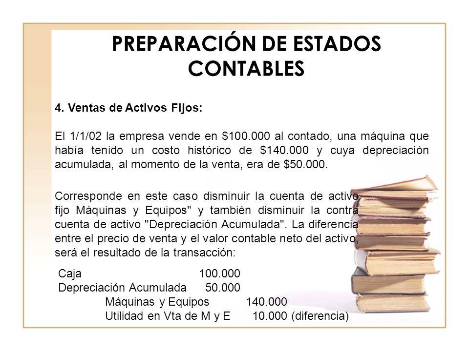 PREPARACIÓN DE ESTADOS CONTABLES 4. Ventas de Activos Fijos: El 1/1/02 la empresa vende en $100.000 al contado, una máquina que había tenido un costo