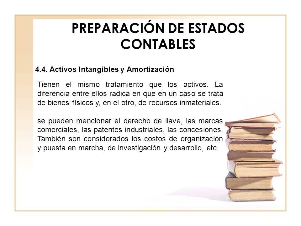 PREPARACIÓN DE ESTADOS CONTABLES 4.4. Activos Intangibles y Amortización Tienen el mismo tratamiento que los activos. La diferencia entre ellos radica