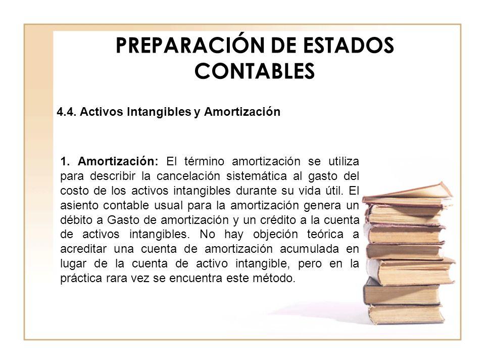 PREPARACIÓN DE ESTADOS CONTABLES 4.4. Activos Intangibles y Amortización 1. Amortización: El término amortización se utiliza para describir la cancela