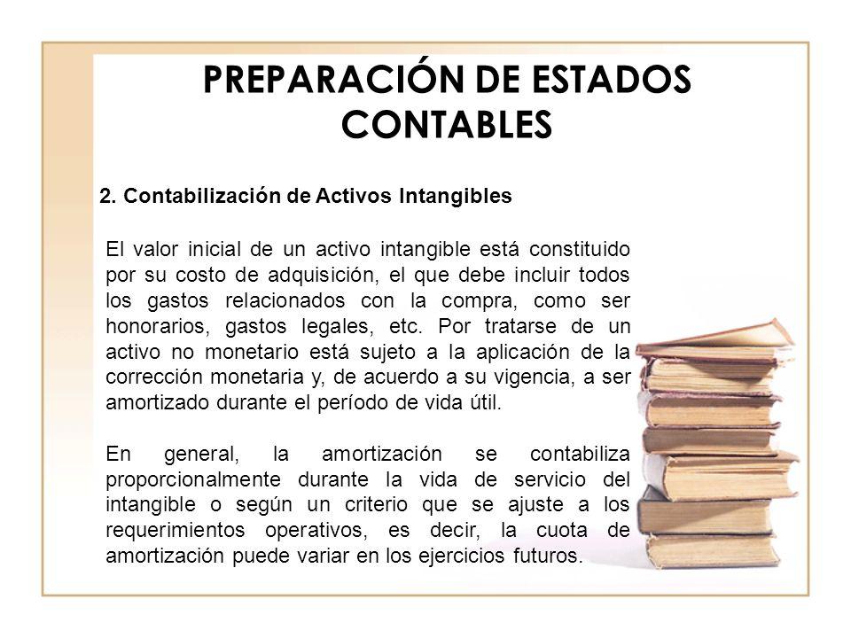 PREPARACIÓN DE ESTADOS CONTABLES 2. Contabilización de Activos Intangibles El valor inicial de un activo intangible está constituido por su costo de a